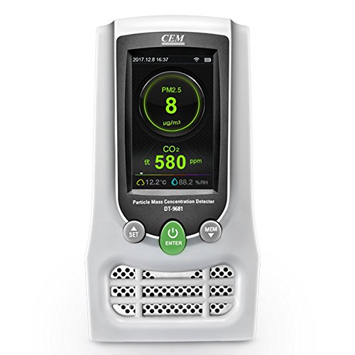 CEM DT-9681 Indoor PM2.5 CO2 HCHO Air Quality Meter Particle Mass Concentration Monitors with LCD Display Testing Formaldehyde(HCHO) PM2.5/PM10 CO2 Humidity and Temperature Real Time Monitoring -
