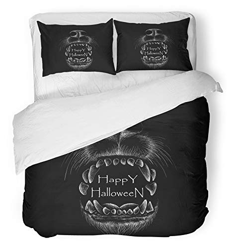 Emvency 3 Piece Duvet Cover Set Breathable Brushed Microfiber Fabric Anger The Wolf for Design Outwear Hunting Style Animal Black Brush Caccia Cane Bedding Set with 2 Pillow Covers Twin Size