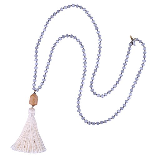- KELITCH Carved Buddha Head Pendant Long Crystal Beaded Necklace Meditation Tassel Charm Necklace New Jewelry (White H)