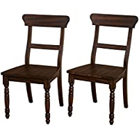 Target Marketing Systems Muse Style Contemporary Armless Dining Chairs, Set of 2, Walnut Finish