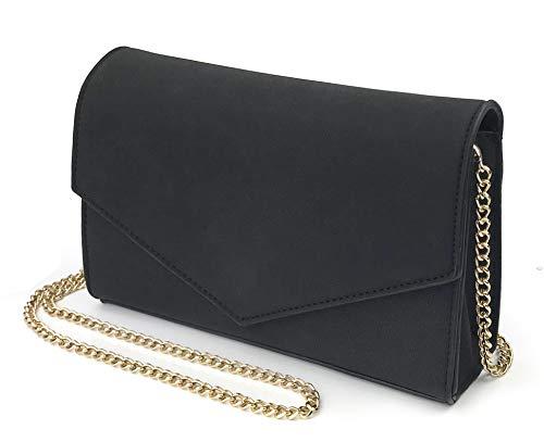 Chain Leather Women Evening Shoulder Clutch Faux Purse Bag Envelope Suede Black Minimalist q8twSxACx