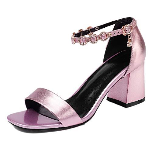 Mujer Abierta Tobillo Sandalias Con Correa Moda Solo De Punta Tacón Genuino Bajo Para Pink Cuero Un Oficina Botón qRS0wRx