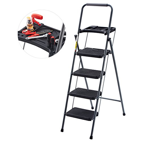 Finether Folding 4 Step Ladder with Platform Lightweight Portable Step Stool with Tool Project Tray