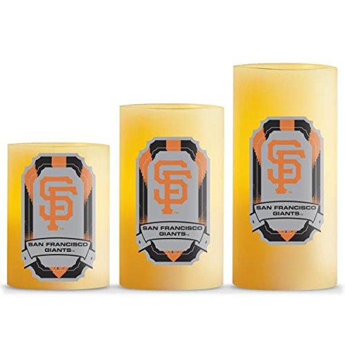 MLB San Francisco Giants LED Light Candle Gift Set (3 Piece), Small, White