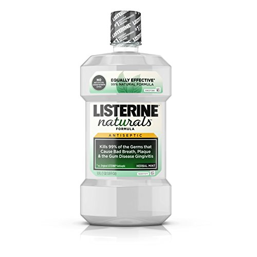 (Listerine Naturals Antiseptic Mouthwash, Fluoride-Free Oral Care To Prevent Bad Breath, Plaque Build-Up and Gingivitis Gum Disease, Herbal Mint, 1 L)