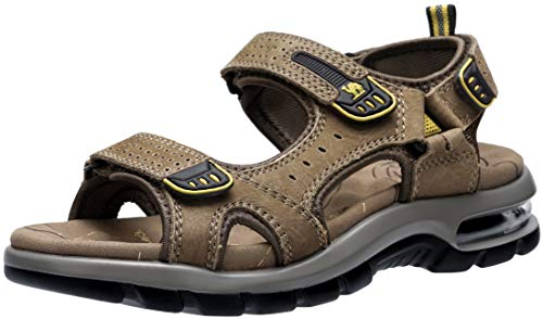 CAMEL CROWN Men's Leather Sandals for Hiking Walking Beach Treads Water Athletic Outdoor with Premium Air Cushion | Waterproof ()