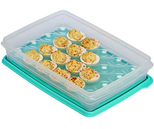 (Egg Holder for Refrigerator - Deviled Egg Tray Carrier with Lid, Container for 24)