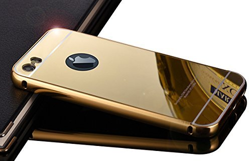 iPhone 5 5S Case,DAMONDY Luxury Metal Air Aluminum Bumper Detachable + Mirror Hard Back Case 2 in 1 cover Ultra-Thin Frame Case For Apple iPhone 5 5S(Gold)