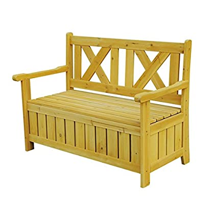 Patio Furniture Brown Wooden Outdoor Storage Bench. Wide, Comfortable  Seating And Doubles As A