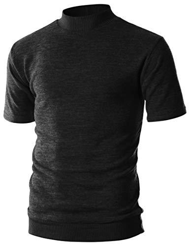 - OHOO Mens Slim Fit Short Sleeve Mockneck Mixed Ribbed Hem Pullover Sweater/DCP124-BLACK-L