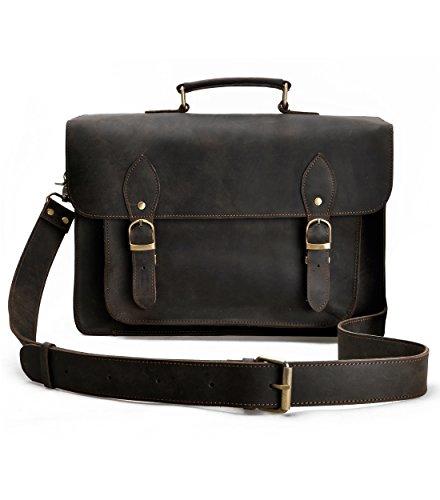 Travelers Camera Bag (Leather Large Camera Bag ZLYC Removable Padded Messenger Bag Vintage DSLR Shoulder Camera Case, Dark Brown)