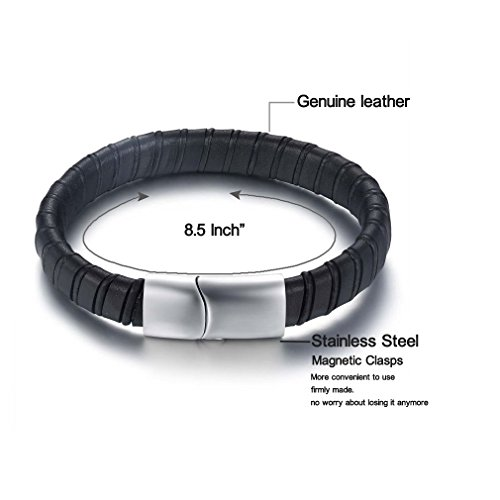 Black-Genuine-Leather-Mens-Stainless-Steel-Magnetic-Clasp-Bangle-Bracelet-21CM85-Inches