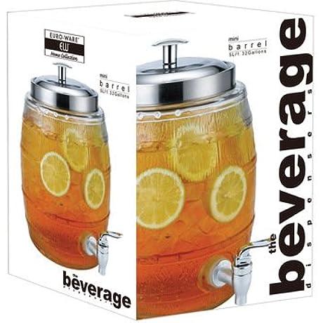 Euro Home EW65050 5 L Mini Barrel Glass Beverage Dispenser Multicolor
