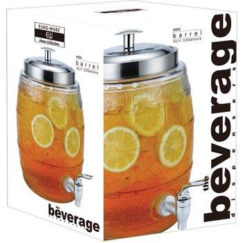 Euro-Home SS-DK-EW65050 EW65050 5 L Mini Barrel Glass Beverage Dispenser Multicolor
