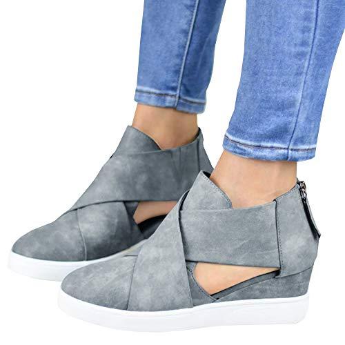 - Womens Cutout Platform Sneakers Wedge Mid Heel Cross Strap Zip Up Pump Booties