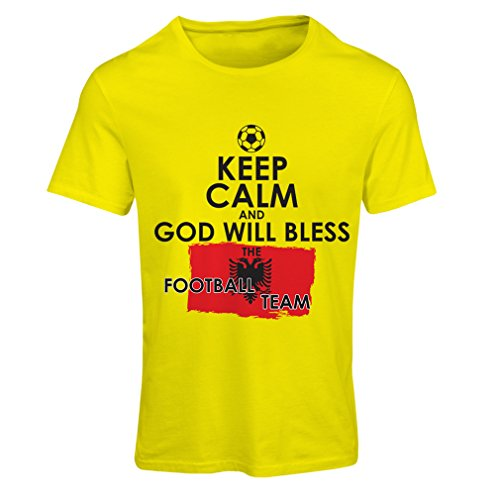 fan products of N4468F T-shirt female Keep Calm and God will Bless the Albanian national football team (Large Yellow Multicolor)