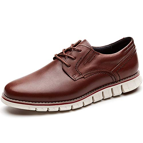 Leather Casual Shoes Men (Laoks Men's Brogues Oxford Wingtip Genuine Leather Dress Shoes for Business Casual Lace-up)