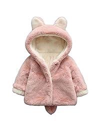 SUPEYA Toddler Baby Girls Fleece Warm Coat Long Sleeve Hoodies Jacket Bunny Ear Hat