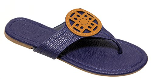 Betani Trinity-3 Womens toe thong with faux leather reva upper flip-flop slippers Navy G5YvC