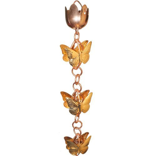 Monarch Rainchains Copper Cascading Butterflies on Rings Rain Chain, 8.5-Feet by Monarch Rainchains by Monarch Rain Chains