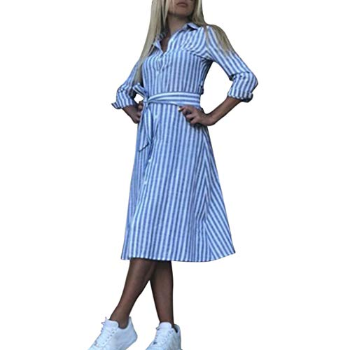 - Fashion Stripe Dresses Casual Button Front Mini Short Shirt Dress Belt,Londony✔ Women V Neck Wrap Tie Dress Pocket Blue