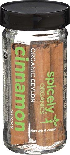 Spicely Organic Cinnamon True Sticks (Ceylon) 6 Count Jar Certified Gluten Free by Spicely Organics