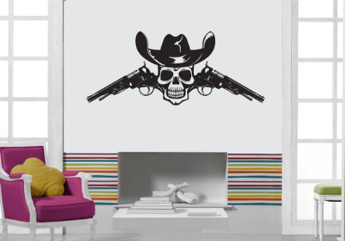 Wall Vinyl Sticker Cowboy Skull Guns And Hat z1010 -
