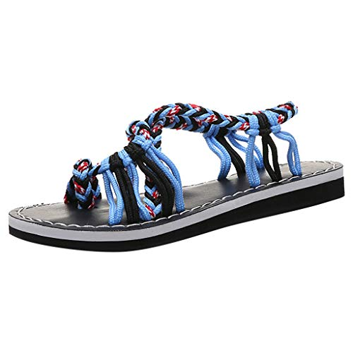 Haalife◕‿Flat Sandals for Women Summer Open Toe Criss Cross Ankle Straps Buckle Flat Sandals Blue