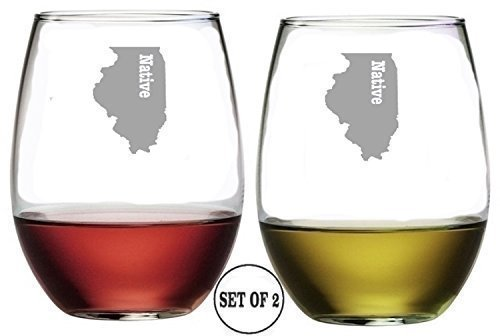 Illinois State Stemless Wine Glasses | Etched Engraved | Perfect Fun Handmade Present for Everyone | Lead Free | Dishwasher Safe | Set of 2 | 4.25″ High x 3.5″ Wide | (16 Ounces) For Sale