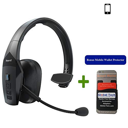 BlueParrott B550-XT Bluetooth Headset Bundle 204165 MW | Includes Mobile Wallet Protector | Streaming Music NFC Ready | 100% Voice-Controlled Headset | Water Dust Resistant - IP54 Rated