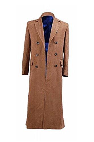 Elaine Shop Mens Brown Long Trench Coat Suede Coat Cosplay Costume (US Men XL) (Cosplay Shop)
