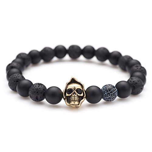 Karseer Black Matte Onyx Lava Rock Energy Stone Beaded Stretch Bracelet, Vintage Bronze Grim Reaper Skull with Dark Lightning Agate Bead Bangle, Personalized Aromatherapy Diffuser Bracelet for -