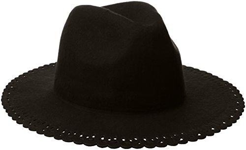 BCBGeneration Women's Lace Edge Panama Hat, Black, One Size (Hat Lace Wool)