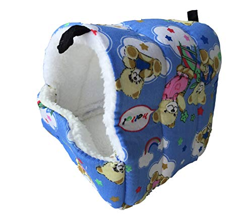 WOWOWMEOW Small Animals Warm Fleece Bed Cage Hanging Cave Beds for Guinea-Pigs, Hamster, Squirrel, Chinchilla and Small Bird (S, Blue)