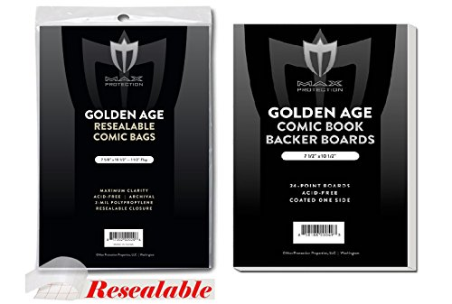 50 EACH Max RESEALABLE GOLDEN age COMIC BOOK BAGS AND BOARDS PREASSEMBLED - FAST SHIP by Max Protection
