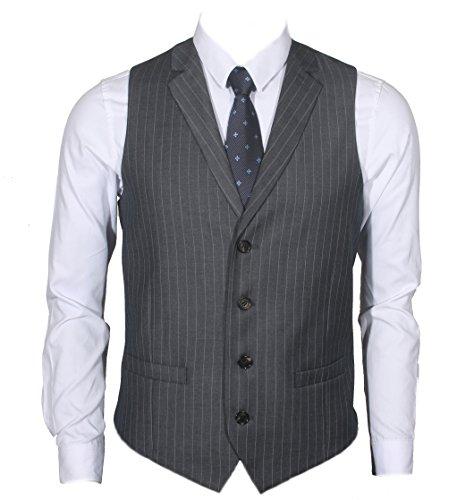Ruth&Boaz Men's 2Pockets 4Buttons Business Tailored Collar Suit Vest (XXXL, CHARCOAL PIN STRIPE)
