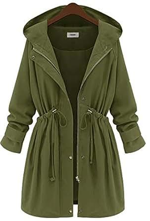 Amazon.com: YINHAN Women's Long Hooded Trench Coat Plus