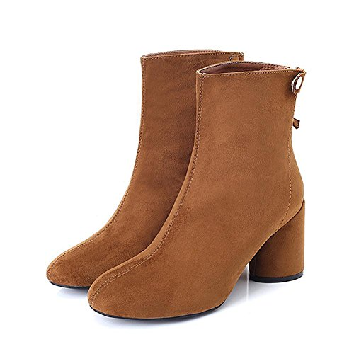 Rivet Short 39 BROWN Ankle Wide Heels Boots Leather Women Shoes Warm High Thicker 8qPR8d
