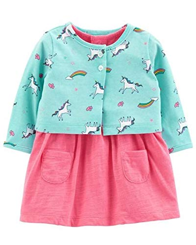 - Carter's Baby Girls Bodysuit Babydoll Waist Dress & Unicorn Rainbow Cardigan (24M), Pink