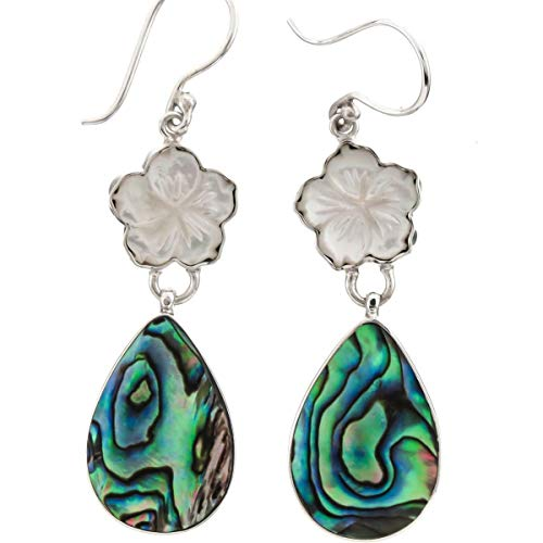 - 1 5/8'' Flower Mother of Pearl Shell PAUA Abalone 925 Sterling Silver Earring YE-1539