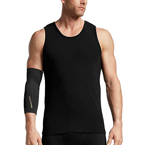 (Tommie Copper Unisex Performance Compression Elbow Sleeve, Black with Tonal Stitch, X-Large)