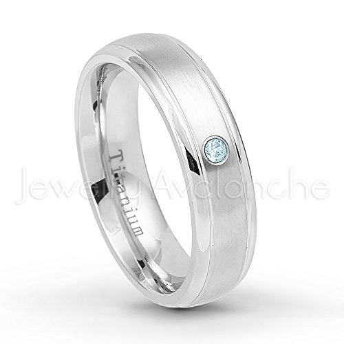 6mm Brushed Finish Comfort Fit Dome White Titanium Ring with 0.07ct Topaz Solitaire Wedding Band - November Birthstone Ring-10 (Ring Dome White Topaz)
