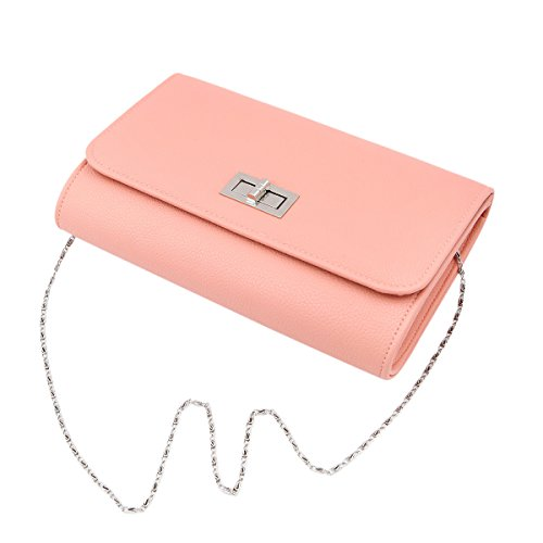 Diff Color Colors PU Handbag Pink Flap Solid Bag Premium Clutch Leather Turnlock zR54q