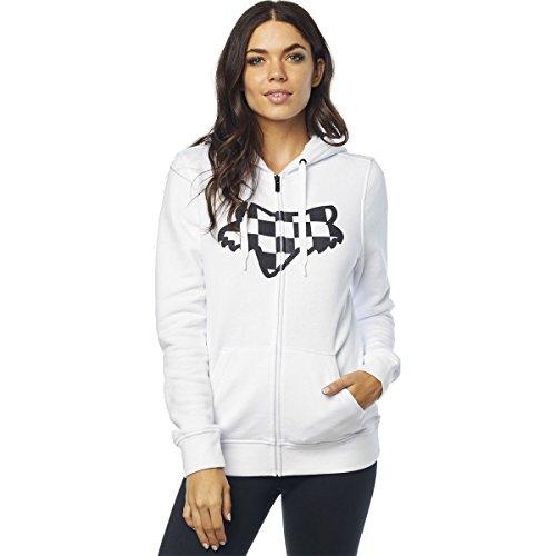 - Fox Junior's Check Head Zip Hooded Sweatshirt, White, S