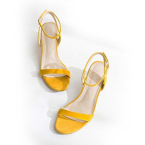 Las mujeres los zapatos de cuero verano Sandalia Tacón,39 amarillo Yellow