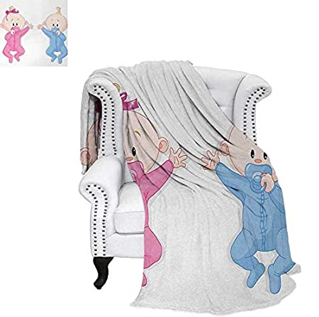 Oversized Travel Throw Cover Blanket Babies Playing Together Sweet Newborn Childhood Romantic Happiness Theme Super Soft Lightweight Blanket 60'x36' Multicolor