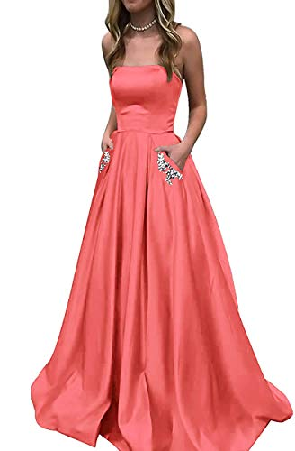 (MYDRESS Strapless Prom Dresses Long with Pockets Satin A-Line Evening Gown Beaded 2019 Coral Size)