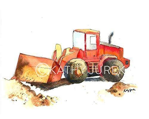 Matte Giclee Art (Nursery Wall Decor | Red Construction, Bulldozer Truck Wall Art Print for Kids Room | 8.5 x 11 Inch Gallery Quality Fine Art Giclée Print)