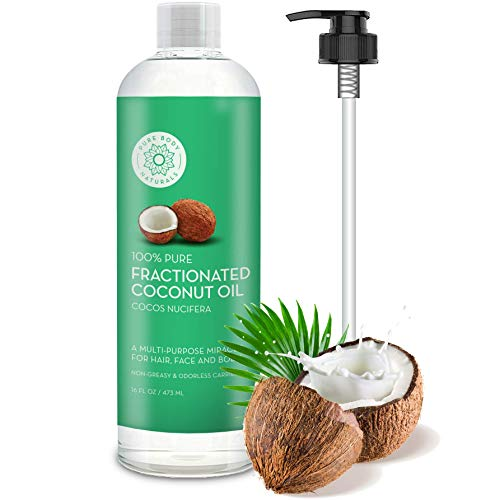Fractionated Coconut Oil for Hair and Skin, 100% Natural and Pure, Liquid Aromatherapy Carrier Oil for Diluting Essential Oils, Hair Growth & Skin Moisturizer, Great for DIY by Pure Body Naturals (Pure Coconut Oil For Hair And Skin)