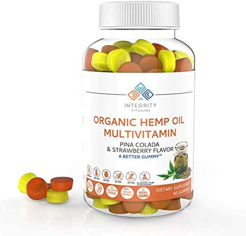 Integrity Vitamins Organic Hemp Oil 2,250mg Multivitamin Gummy Vitamins, All Natural, Vegan, Organic, Gelatin Free, Gummies / Pina Colada & Strawberry Flavor - 90 Count